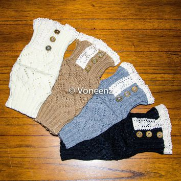Knitted Lace & Button Boot Cuffs, Holiday Stocking Stuffer: 4 Different Colors FREE SHIPPING