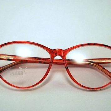 vintage 80s puma secretary style cherry red frames glasses  number 1