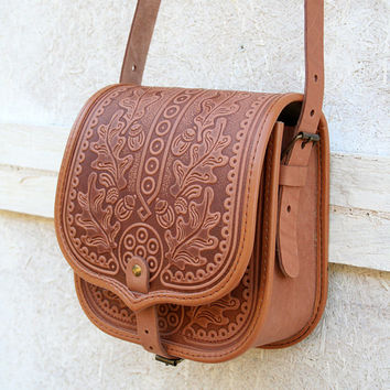 free shipping - light brown leather bag - shoulder bag - crossbody bag - handbag - ethnic bag - messenger bag - for women - capacious
