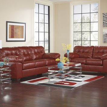 Ashley Furniture 20100-38-35 2 pc alliston collection salsa bonded leather upholstered sofa and love seat set