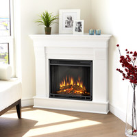 Shop Real Flame 40.9-in W 4,780-BTU White Wood Corner LED Electric Fireplace with Media Mantel with Thermostat and Remote Control at Lowes.com