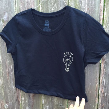 "Lightbulb ""Its Lit"" Screen Printed Crop Top"