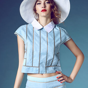 Blue Stripe Blouse and Short