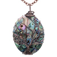 Handmade Copper Wire Wrapped Abalone Pendant Necklace Retro Tree of Life Necklace Women Girls Gift