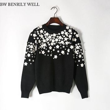Flower Sequin Embroidery Knitted Sweaters Women Rabbit Hair Winter Warm Loose Pullover Female Casual O-Neck High quality Sweater