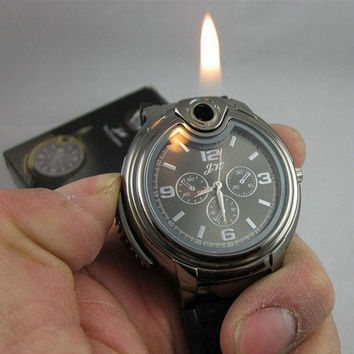 Military Lighter Watch Novelty Quartz Sports Refillable Gas Cigarette Cigar Men's Watches Luxury