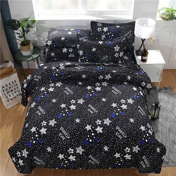 3PCS Modern Home Hotel Bedroom Bedding Set Starry Stars Moon Pattern Polyester Bedclothes Duvet Cover Pillowcase Quilt Cover