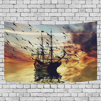 Sea Pirate Sailing Ship Tapestry Wall Hanging Sunset Landscape Wall Decor Art
