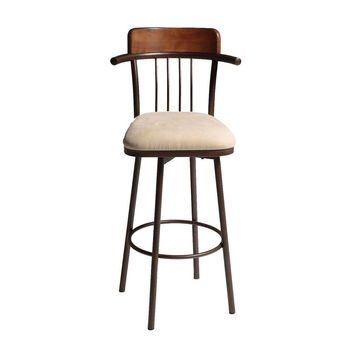 Hammered Copper Metal Bar Stool with Microfiber Upholstered Swivel-Seat