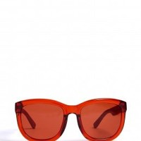 Terracotta/Red Leather Wayfarer Sunglasses by The Row
