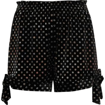 Black velvet glitter polka dot bow hem shorts - Casual Shorts - Shorts - women