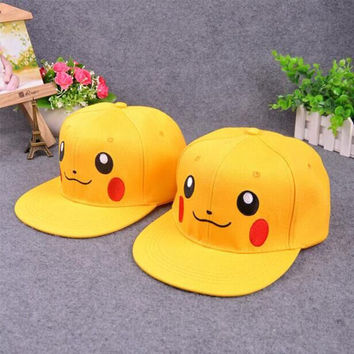 Anime Pocket Monster Cosplay Cap red yellow Novelty cartoon Pikachu ladies dress Pokemon go Hat charm Costume Props Baseball c