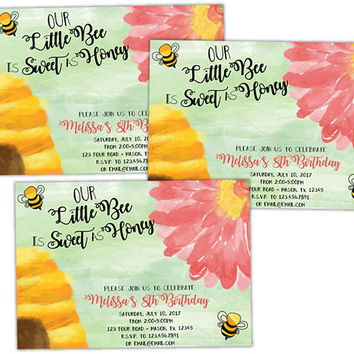 Bumble Bee Birthday Invitations - Honey Bee Invitation - Bees Girl Flower Birthday - Watercolor Garden Party Invitations - Boho Bee Invite