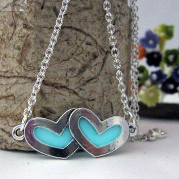 Glow in the Dark Hearts Charm Necklace, Silver Finish, Turquoise Aqua Glow Unique Gift, Valentines Day