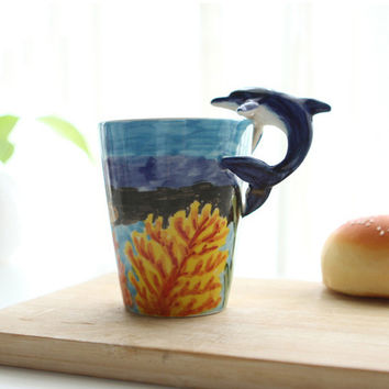 Unique 3D Animals Coffee Mug with Handle Hand-painted Hippocampus Dolphin Octopus Penguins Medium Size Tea Cup Cartoon
