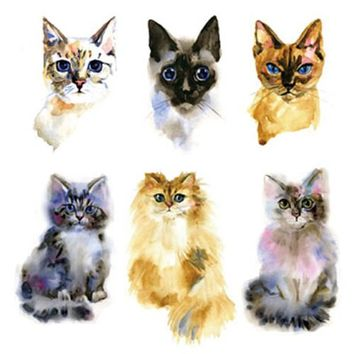 Waterproof Temporary Fake Tattoo Stickers Watercolor Yellow Grey Cat Design Body Art Make Up Tools