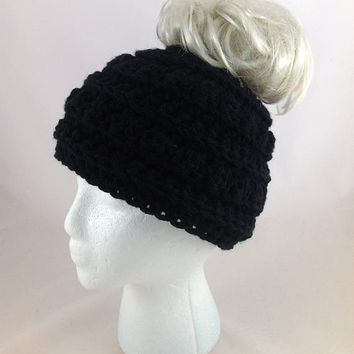 Black Bun Hat Bun Beanie Pony Tail Hat Mom Life Beanie Messy Bun Hat Adult Ear Warmer Hat Mom Life Hat Crochet