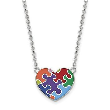 Sterling Silver Autism Heart Puzzle Piece Necklace