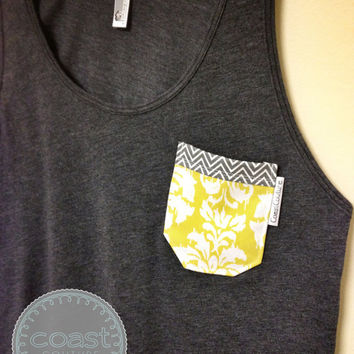 "Chevron and Damask - ""Fancy Frocket"" in Heather Black - Fabric Pocket Tank"