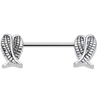 Stainless Steel Folded Angel Wings Nipple Barbell | Body Candy Body Jewelry