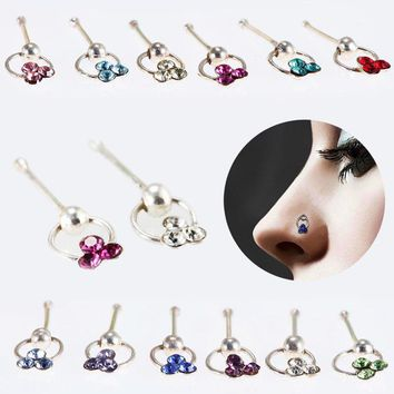 Fashion Crystal Flower Hoop Stud Nose Ring Earrings Lip Eyebrow Cartilage Piercing Rings Jewelry Gifts C653