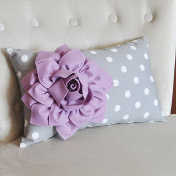 Decorative Lumbar Pillow Lilac Dahlia on Gray and White Polka Dot Lumbar Pillow 9 x 16