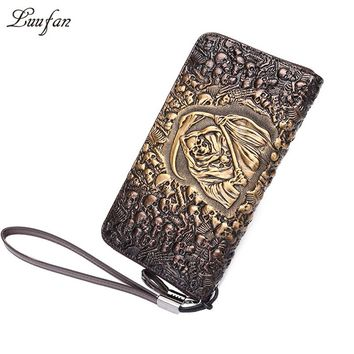 Genuine leather Men Clutch wallet Vintage Skull Embossing Cow leather long wallet zipper pocket card phone holder purse for man