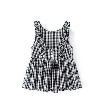 NSZ Women Tank Top Summer Sleeveless Plaid Shirt Backless Blouses Pleated Camis Round Collar Checked Clothing Blusas Camisa