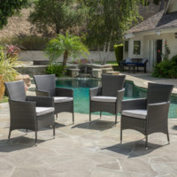 Malta Outdoor Wicker Dining Chair with Cushions (Set of 4)