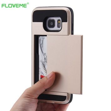 FLOVEME For iPhone 6 6s Hybrid Case Slide Card Holder Hard Soft Armor Luxury Cover For iPhone 7 5 5s 5C Plus Samsung S6 S7 Edge