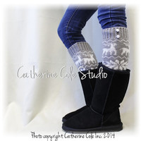 REINDEER ROMP grey white knit women legwarmers knit leg warmers boots legging snowflake buttons leg warmers Catherine Cole Studio LW24