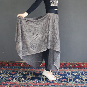 Knit maxi skirt from soft perforated knit in brown and black, ready to ship in S M L