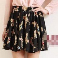 Retro Cross Pattern Expansion Pleated Mini Skirts 2 Colors