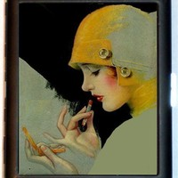 Art Deco Flapper Girl Dirty Thirties Lipstick Compact Design Black Metal Cigarette or ID Business Card Holder Case Wallet