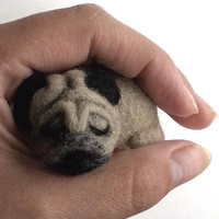 felted wool Dog pug Needle feltl brooch Sweater clips wool dog dog show accessories