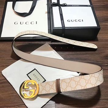 GUCCI New Fashion Woman Men Metal Double G Smooth Buckle Belt Leather Belt I-KWKWM