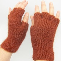 Handmade Artisan Pure Alpaca Natural Fiber Gloves - Grand Canyon Mountains (Knitted 100% by Hand/On
