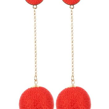 Red Color Cord Wrapped Chunky Ball Chain Drop Earring