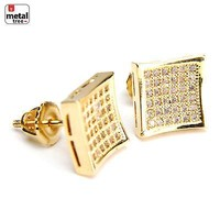 Jewelry Kay style Men's Bling 14K Gold Plated Caved Square Iced Screw Back Stud Earrings BE 034 G