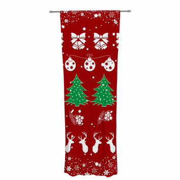 "Famenxt ""Christmas Vibes Red"" Red Green Illustration Decorative Sheer Curtain"