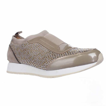 Donald J Pliner Ryley Rhinestone Pull On Fashion Sneakers, Beige, 9 US