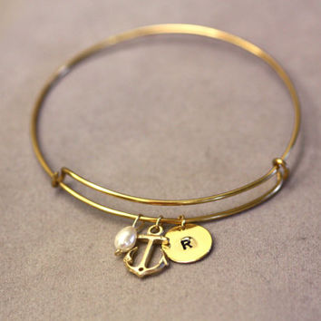 Custom Initial-adjustable bangle , Perosnilized Bracelet, Initial Bracelet, Initial Bangle, Gold Bangle Bracelet, Monogram Bracelet, anchor