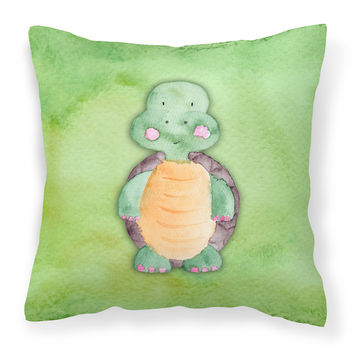Turtle Watercolor Fabric Decorative Pillow BB7382PW1414