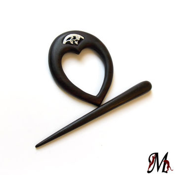 Wooden shawl pin, Hair Barrette, Scarf pin, Hair slide, Hair barrette, Wood carving, Hair accessories, Designed and Handmade by MariyaArts