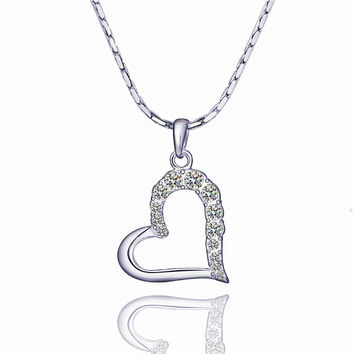 Love Journey Heart White Gold Necklace
