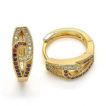 Gold Layered 02.304.0008.15 Huggie Hoop, with Garnet and White Micro Pave, Polished Finish, Golden Tone