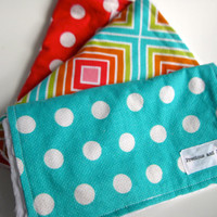 Baby Burp Cloth Set (3) Bright Colors & Patterns - White Dimple Dot Minky