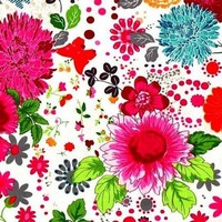 1 Yard Quilt Fabric Flower Power Large Floral Butterfly Fabric White