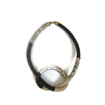 Neo Tribal Knot Necklace in Black and Beige - Statement Jewelry