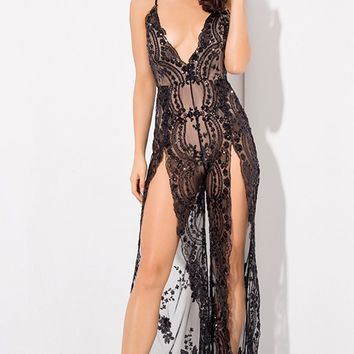 Take A Step Back Black Sequin Floral Pattern Sheer Mesh Sleeveless Spaghetti Strap Plunge V Neck Backless Double Slit Wide Leg Loose Jumpsuit